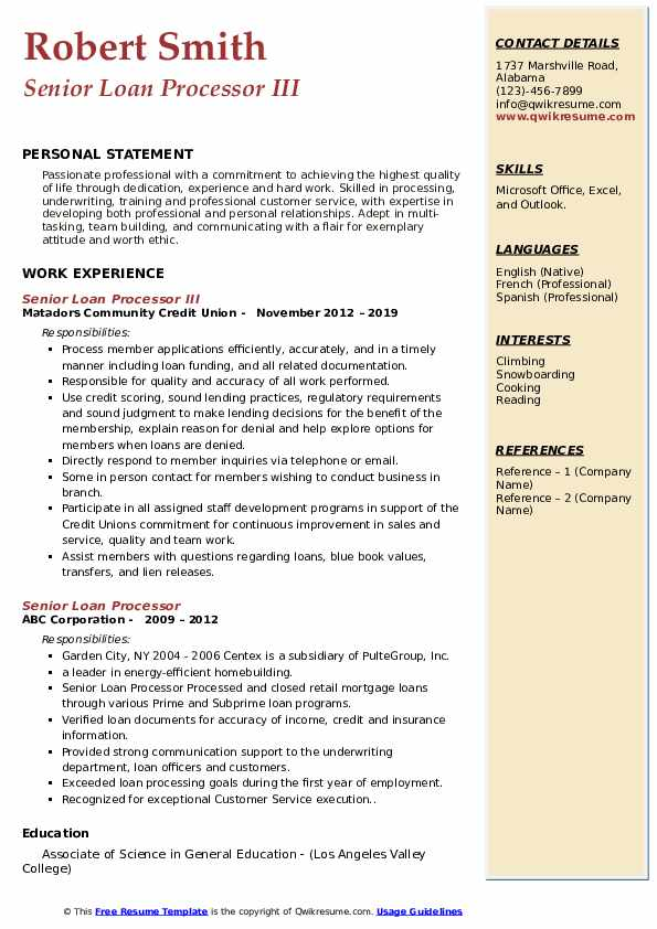 Senior Loan Processor III Resume Format