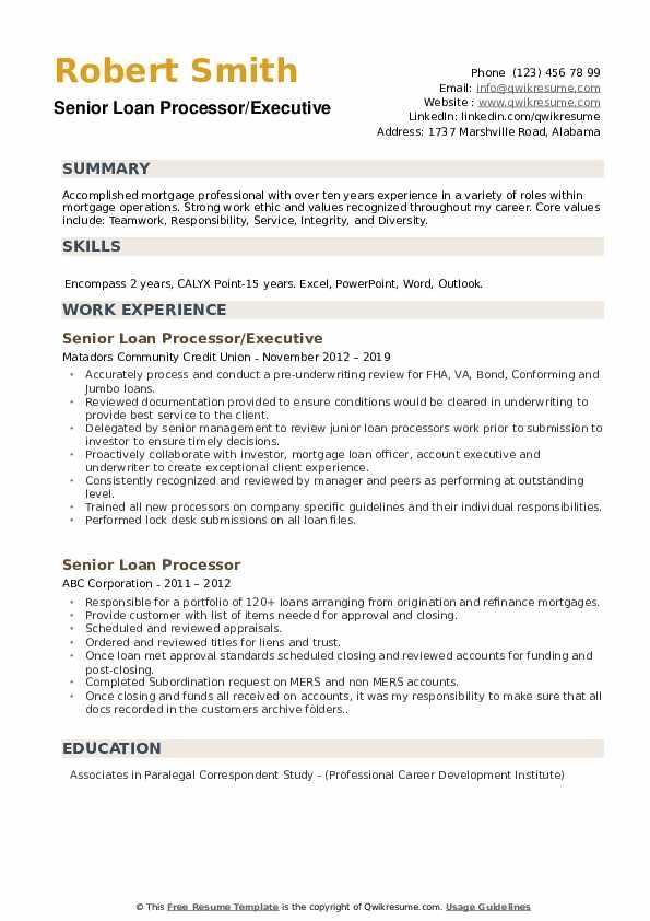 Senior Loan Processor/Executive Resume Example