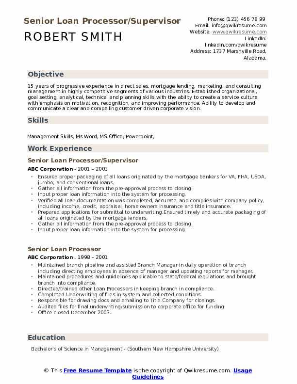 Senior Loan Processor/Supervisor Resume Format