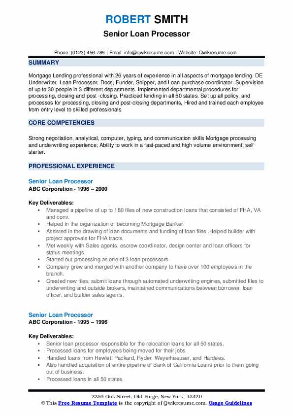 Senior Loan Processor Resume example