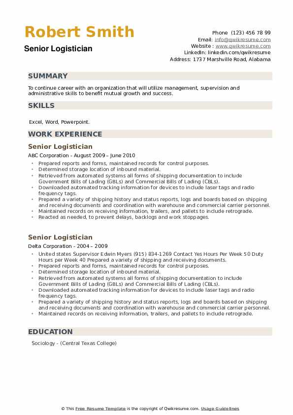Senior Logistician Resume example