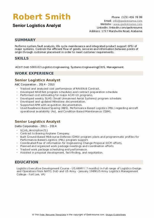 Senior Logistics Analyst Resume example