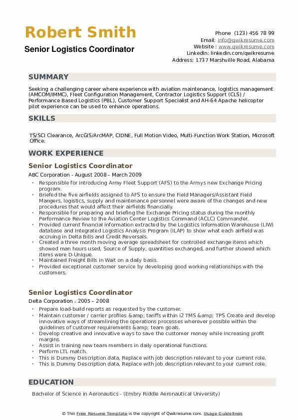 Senior Logistics Coordinator Resume example