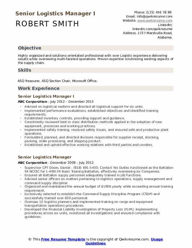 senior logistics manager resume samples
