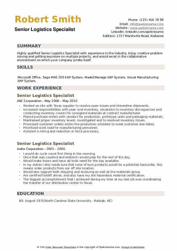 Senior Logistics Specialist Resume example