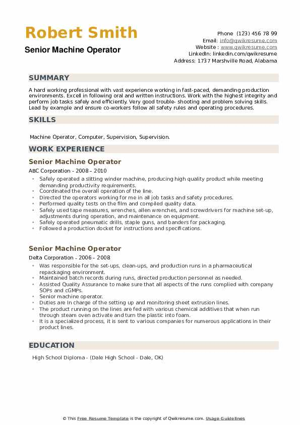 Senior Machine Operator Resume example