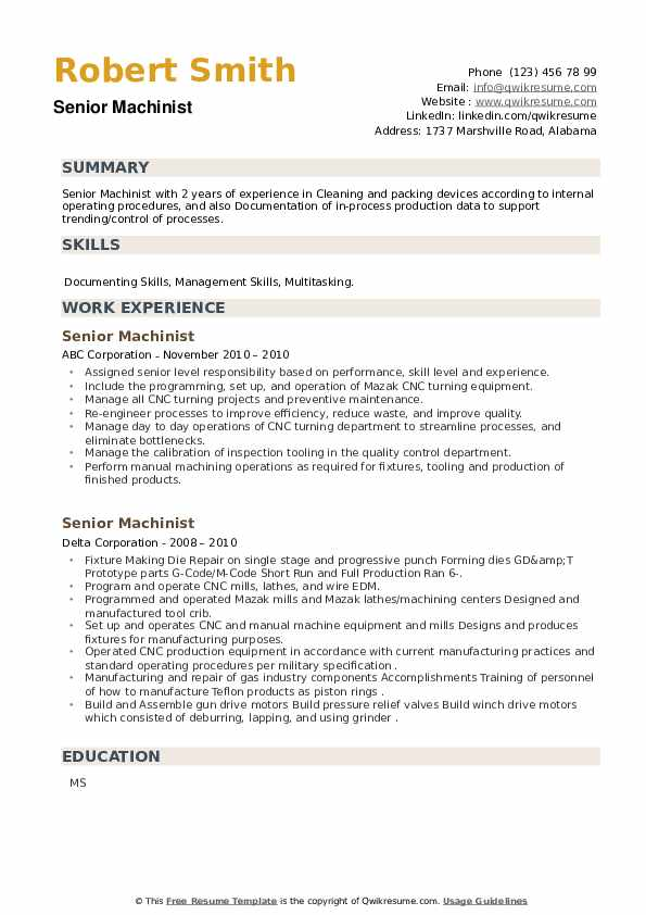Senior Machinist Resume example