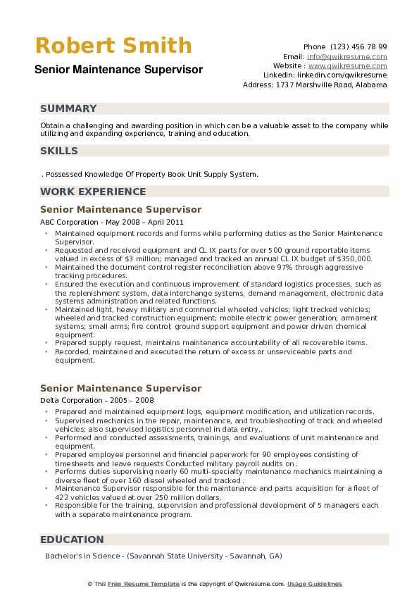 Senior Maintenance Supervisor Resume example