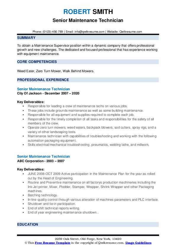 Senior Maintenance Technician Resume example