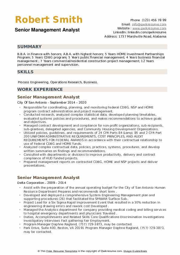 Senior Management Analyst Resume example