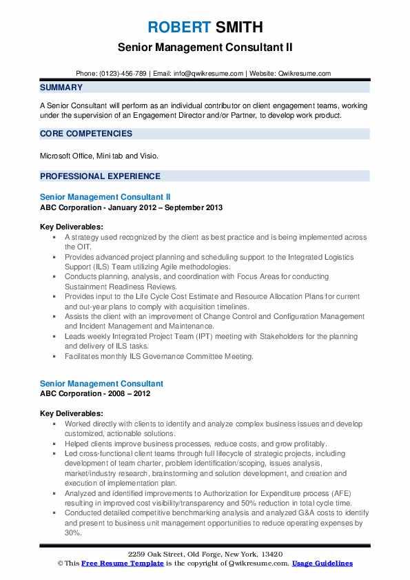 senior management consultant resume samples  qwikresume