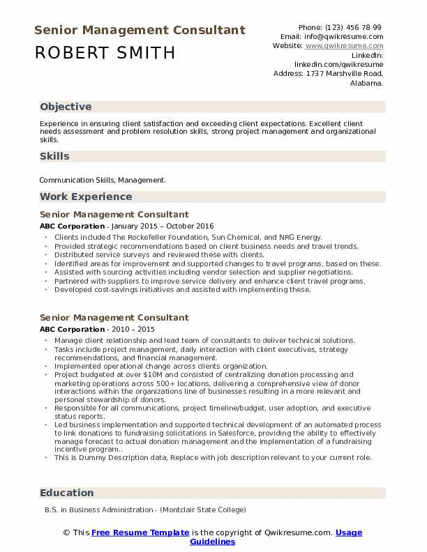 Senior Management Consultant Resume example