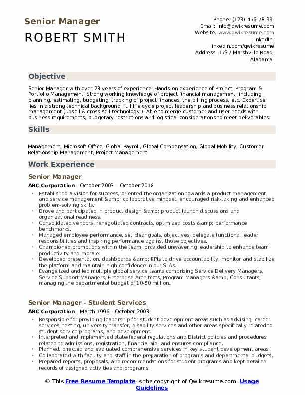 senior manager resume samples