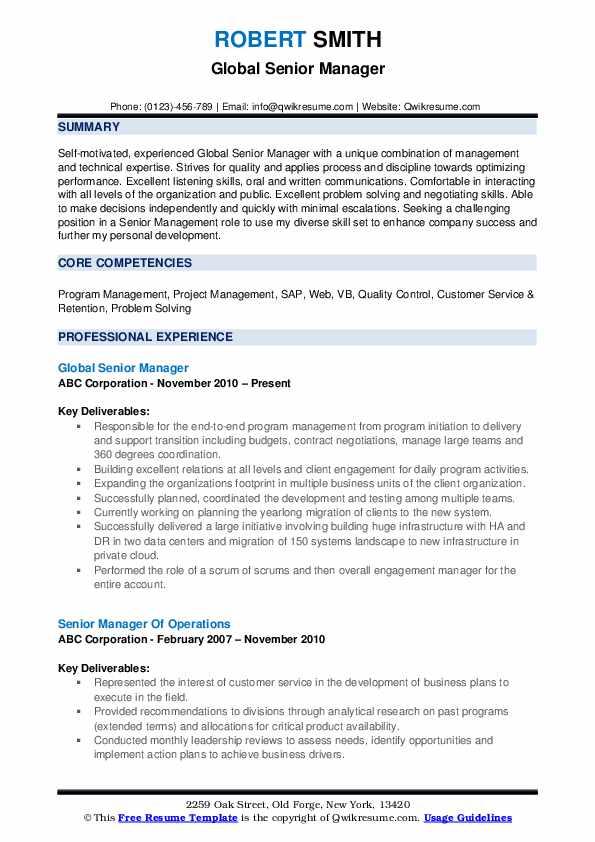 Global Senior Manager Resume Template