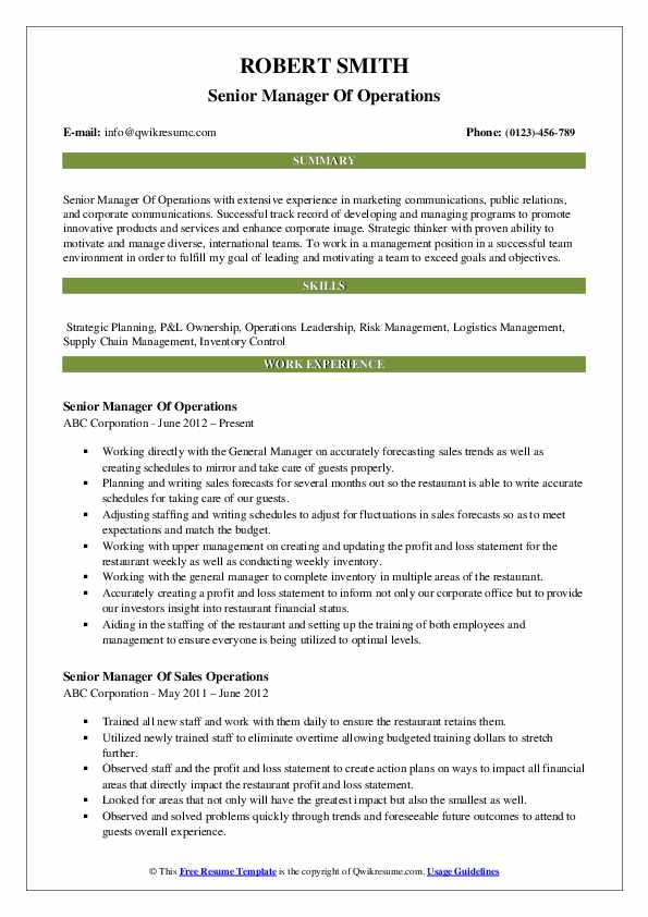 Senior Manager Of Operations Resume Format