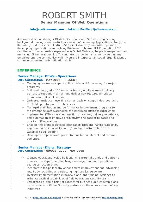 Senior Manager Of Web Operations Resume Format