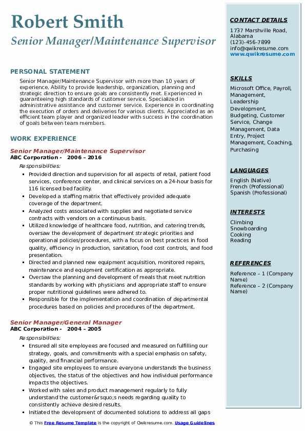 Senior Manager/Maintenance Supervisor Resume Example