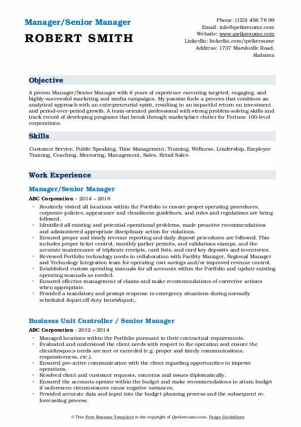Manager/Senior Manager Resume Model