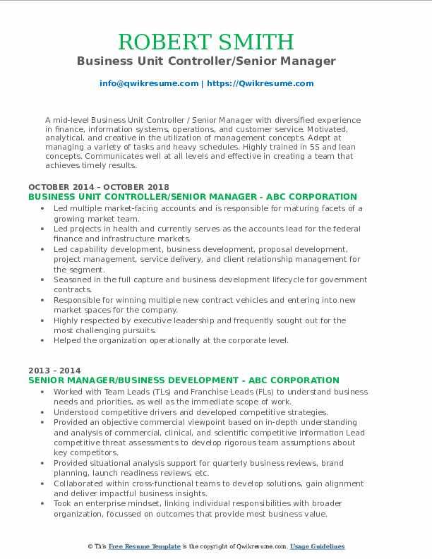 Business Unit Controller/Senior Manager Resume Sample