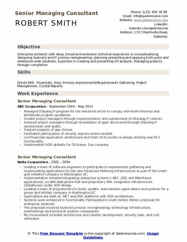 Senior Managing Consultant Resume example