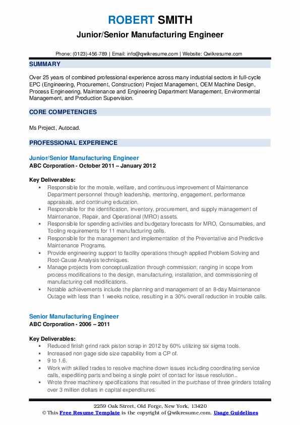 senior manufacturing engineer resume samples  qwikresume