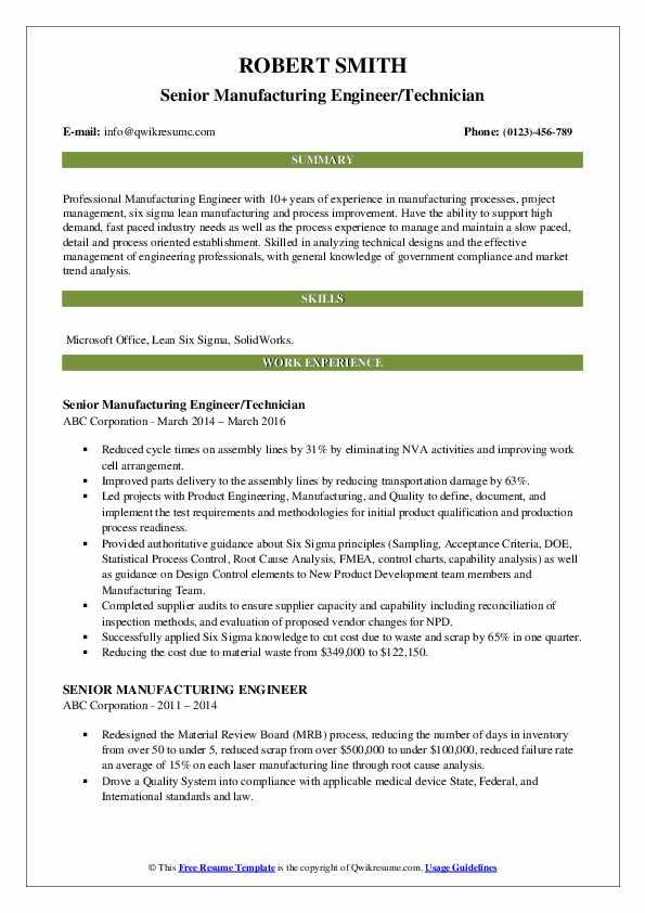 Senior Manufacturing Engineer/Technician Resume Model