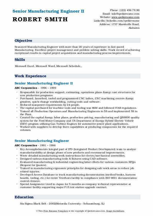 Senior Manufacturing Engineer II Resume Format