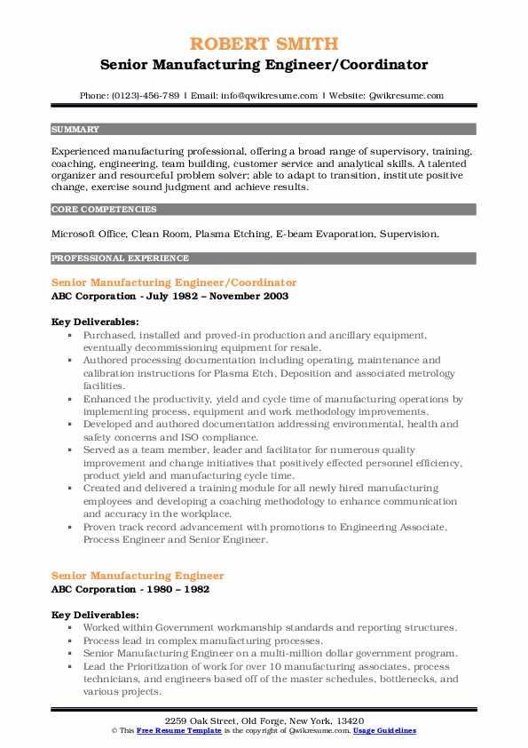 Senior Manufacturing Engineer/Coordinator Resume Sample