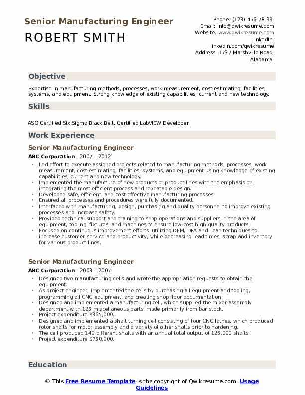 Senior Manufacturing Engineer Resume example