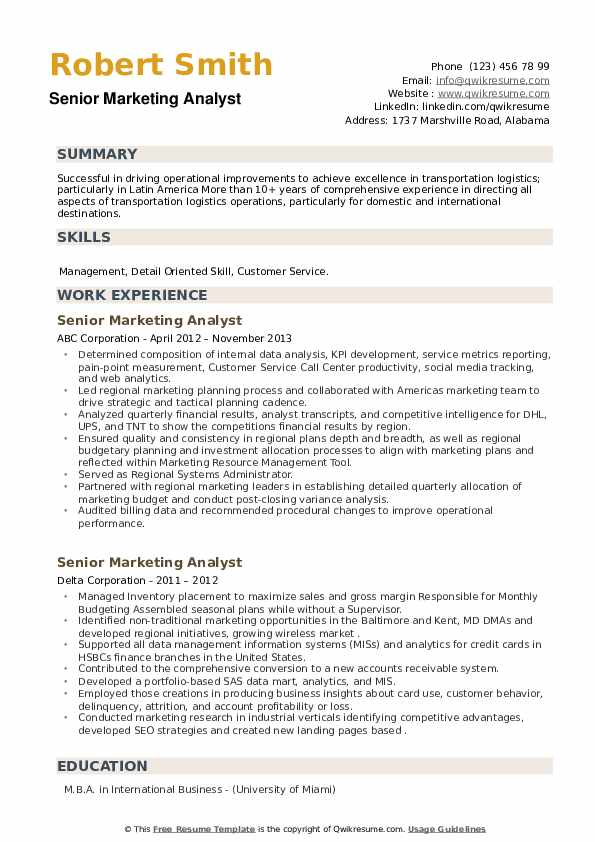 Senior Marketing Analyst Resume example