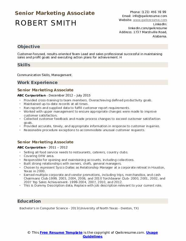 Senior Marketing Associate Resume example