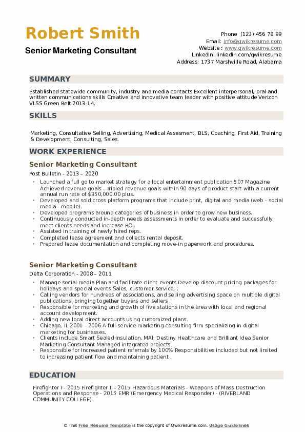Senior Marketing Consultant Resume example