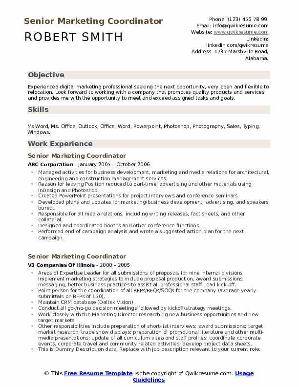 Senior Marketing Coordinator Resume example