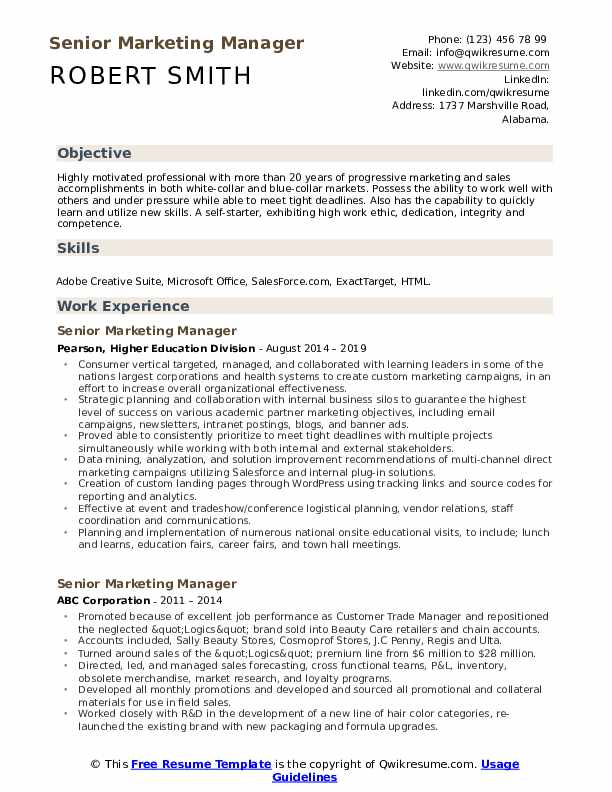 Senior Marketing Manager Resume Sample