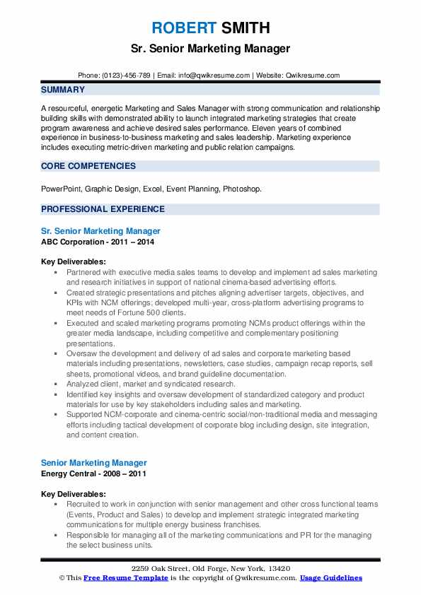 Sr. Senior Marketing Manager Resume Template