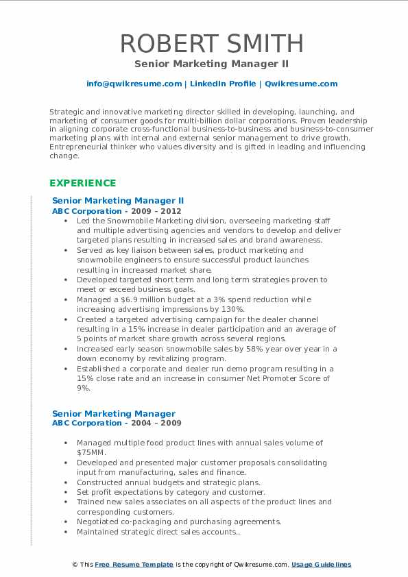 Senior Marketing Manager II Resume Format