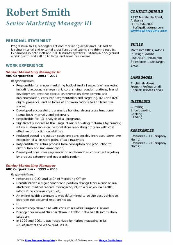 Senior Marketing Manager III Resume Template