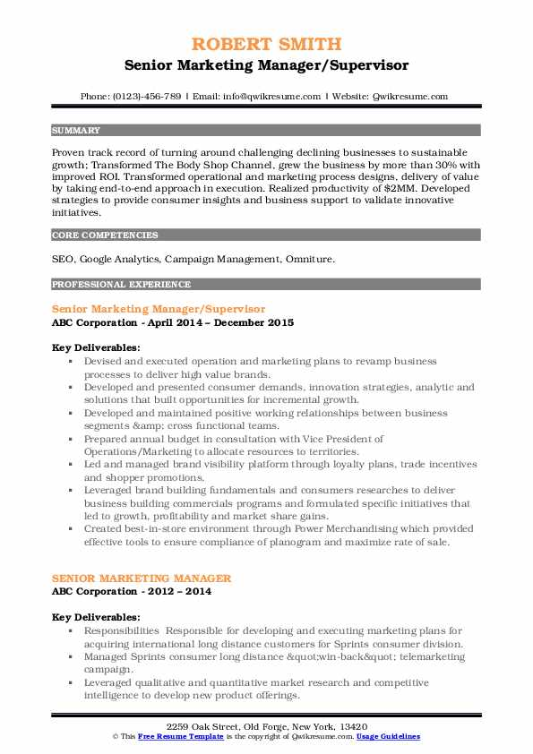 Senior Marketing Manager/Supervisor Resume Format