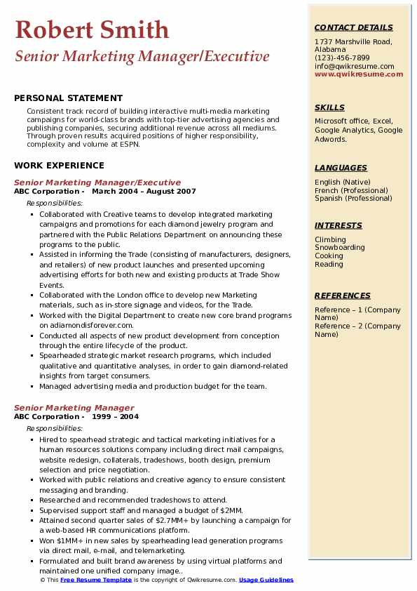 Senior Marketing Manager/Executive Resume Sample