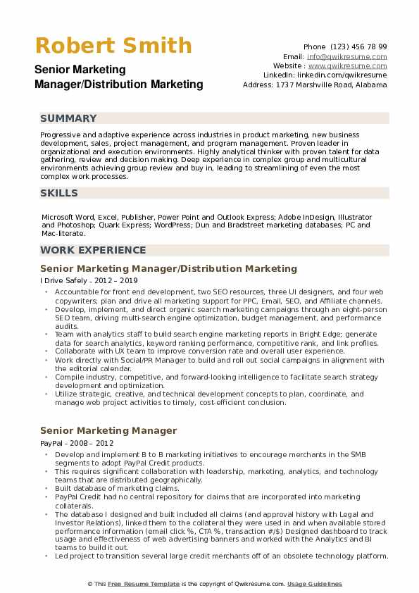 Senior Marketing Manager/Distribution Marketing Resume Format