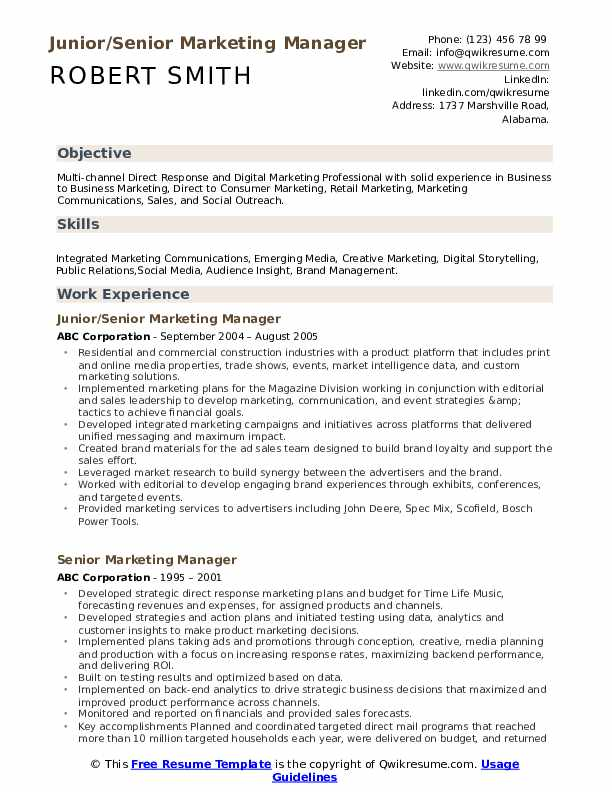 Junior/Senior Marketing Manager Resume Format