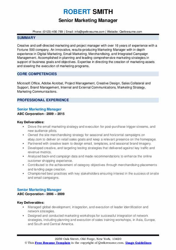 Senior Marketing Manager Resume example