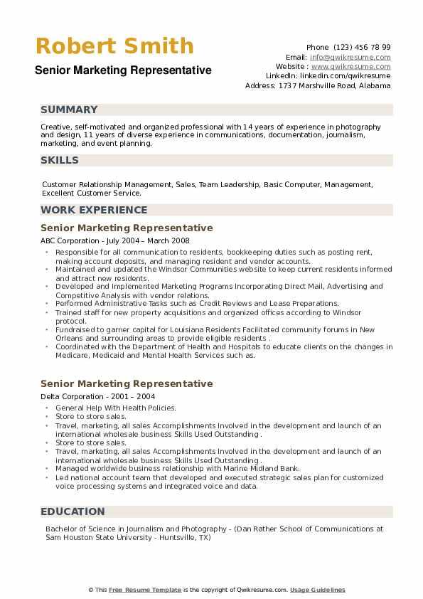 Senior Marketing Representative Resume example