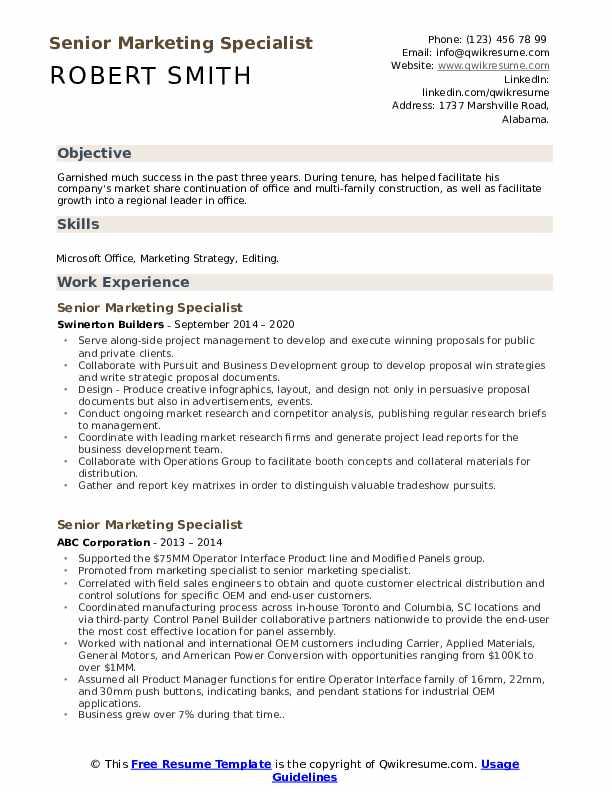 Senior Marketing Specialist Resume Samples Qwikresume