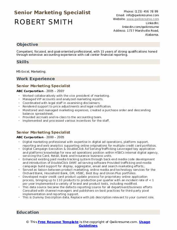 Senior Marketing Specialist Resume example