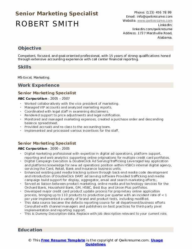 Senior Marketing Specialist Resume example