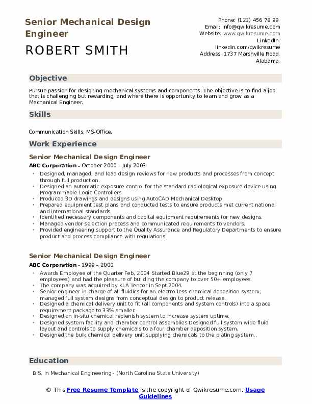 senior mechanical design engineer resume samples