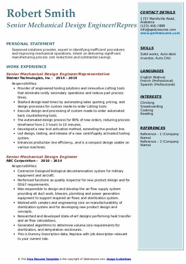 Senior Mechanical Design Engineer Resume Samples Qwikresume