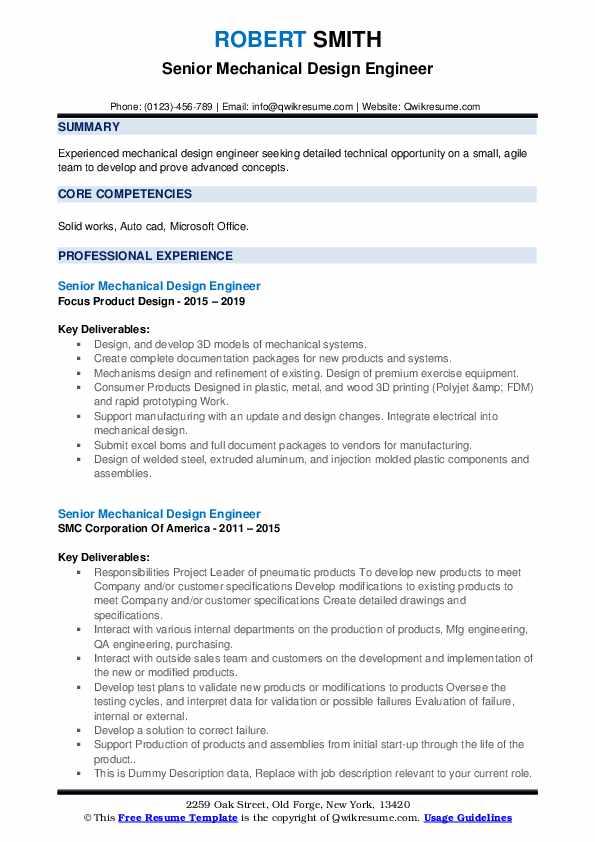 Senior Mechanical Design Engineer Resume example