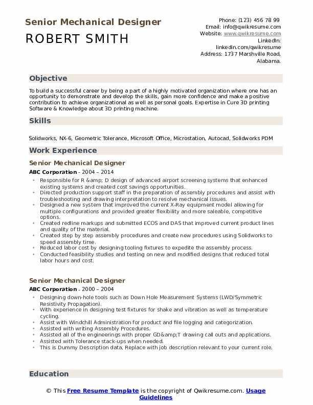 Senior Mechanical Designer Resume example